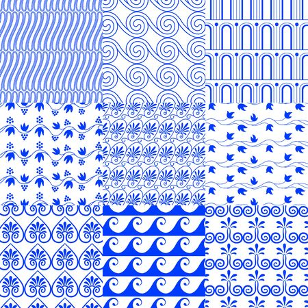Vector set of greek traditional seamless tiled blue patterns on a white background. Grapevine, spiral, waves, floral ornament for fashion decorating bedding, wrappers, card, printing on paper, textile