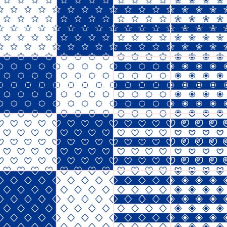 Vector set of seamless nautical patterns with twisted rope elements star, heart, rhomb blue and white color. A collection of modern and vintage backgrounds for print on paper, textile, cards, covers 일러스트