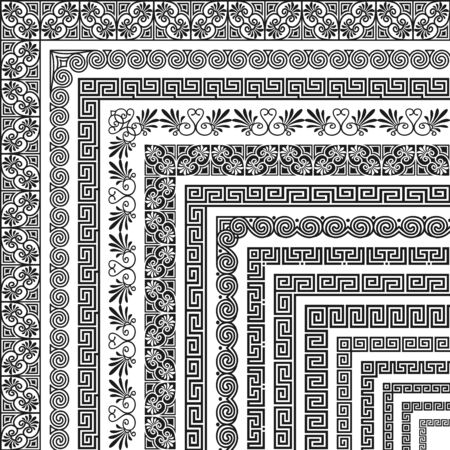 Vector set of corner brushes, ethnic greek meander pattern. Wide and narrow classical ornament in Hellenic style for the design of frames, boarders, edging, certificate, menu, invitation, wedding card Vektorgrafik