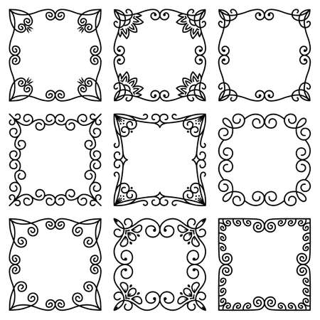 Vector set of square frames. Beautiful elegant floral ornament. Abstract flowers, leaves. Modern pattern of lines for design birthday, wedding, greeting card, invitation, poster, web banner, postcard Illustration