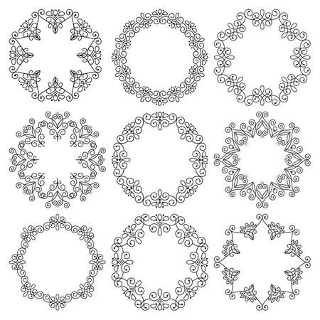 Vector set of round frames. Beautiful elegant abstract floral ornament. Vettoriali