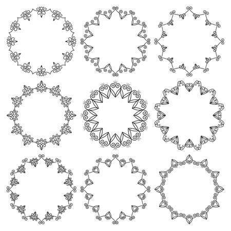 Vector set of round frames. Beautiful elegant abstract floral ornament.