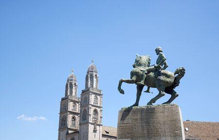 Grossmunster Cathedral and Statue of Burgermeister Hans Waldmann Zurich Switzerland