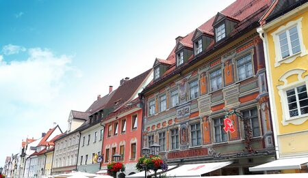 illustrative editorial: Fussen, Bavaria, Germany - July 22, 2016 - Colorful traditional buildings of Fussen town