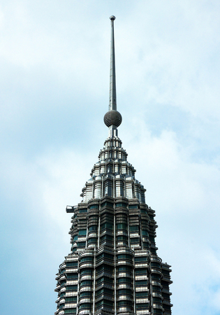 KUALA LUMPUR, MALAYSIA - FEBBRUARY 6, 2017: Closeup view of top of Petronas Tower