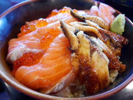 Salmon, ikura (salmon roe) and unagi (eel) don (rice bowl)