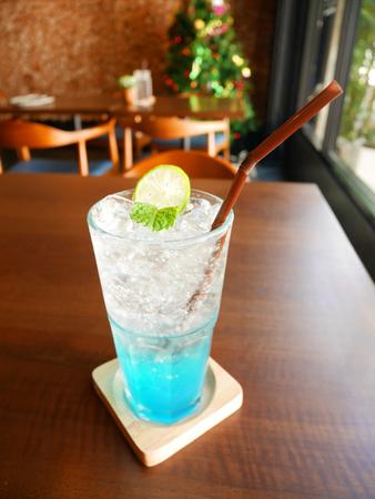 Iced blue Italian soda