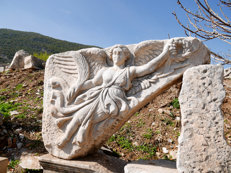Marble Statue of Nike, the Goddess of Victory, at Ephesus, Turkey photo