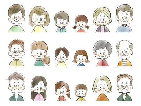Family-People-Smile-Watercolor Stock Photo