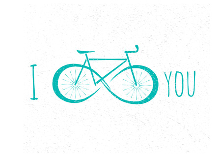 Vector logotype of bicycle with infinity sign on its wheels. Silhouette of bike, flat style. For bicycle or triathlon design issues - logo, visit cards, invitations, advertisement materials.