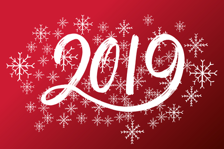 Hand drawn fugures 2019, symbol of new year. For designing card, poster, banner, logo, printed materials. New year number 2019