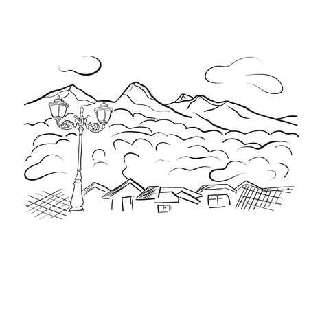 Mountain view linart vector illustration for poster, banner, illustration of a book, printing, website. Mountains, sky, forest, lantern. For tourism, outdoor sport skiing documents design