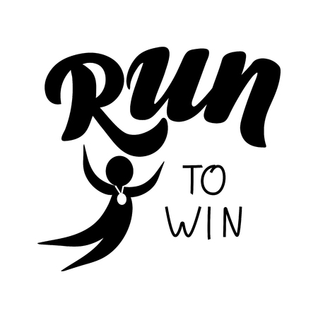 Triathlon hand drawn lettering, quote: Swim strong, Cycle fast, Run to win. For motivation poster, banner, logo, icon. For sport club, triathlon team outdoor event presentation Illustration