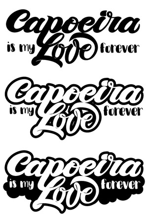 Capoeira lettering and sillouettes of capoeirists, no background. For designing capoeira promo, logo, banner, poster, website, invitation, visit card