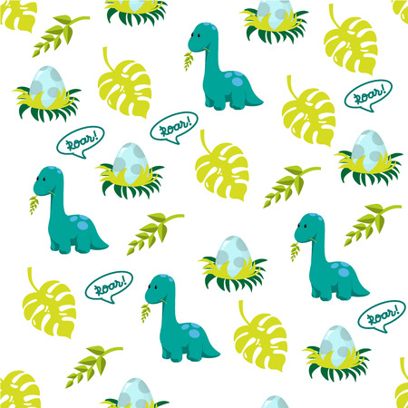 Dinosaur icons in flat style for designing dino party, children holiday, dinosaurus related materials. For card, poster, banner, logo, icon. Jurassic park theme.  イラスト・ベクター素材
