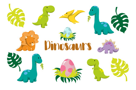 Dinosaur icons in flat style for designing dino party, children holiday, dinosaurus related materials. For card, poster, banner, logo, icon. Jurassic park theme. Stock Illustratie