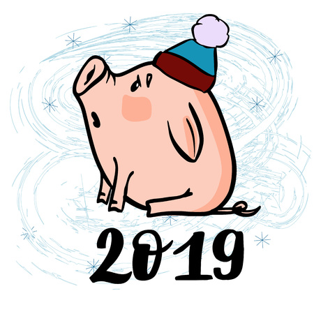 Vector hand drawn doodle illustration of new year winter piglet in a hat with a snowflake and 2019 number. For new year, chenese new year and christmas greeting card, poster, banner, logo.