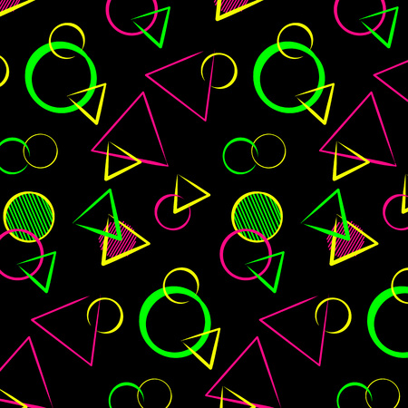 Abstract bauhaus geometric ornament, seamless pattern for printing on textiles, background, , poster, banner. Memphis style colorful design - neon colors on black