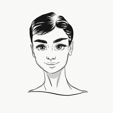 Vector Audrey Hepburn cartoon portrait black and white. Cute face with big eyes for fashion print, poster, banner, icon, illustration. Young beautiful girl, successful woman, feminist, fashion lady