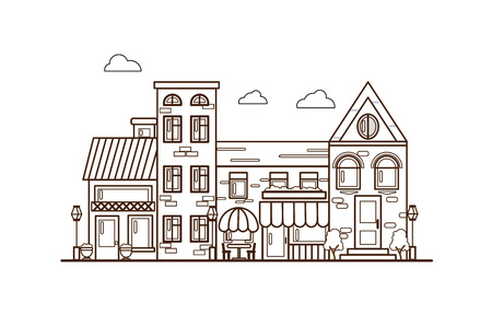 City Street flat design.Bright urban streetscape in lines. Cartoon exterior architecture, touristic place, facade for illustration of business town-planning project, background for any cartoon scene Illustration