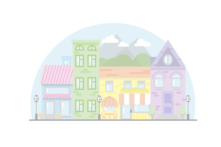 City Street flat design. Urban streetscape. Vector houses. Cartoon exterior architecture, touristic place, facade for illustration of business town-planning project, background for any cartoon scene