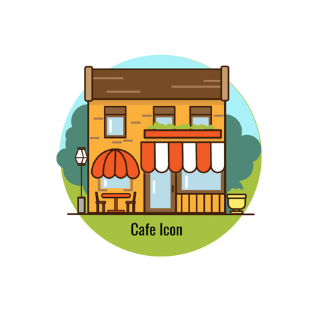 Cafe icon flat design. Urban streetscape. Vector house. Cartoon exterior architecture, touristic place, facade for illustration of business town-planning project, background for any cartoon scene