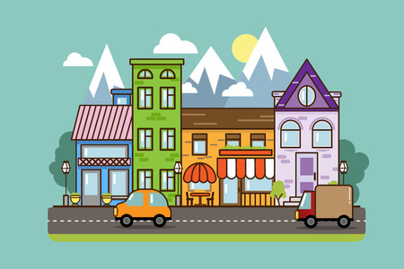 City Street flat design.Bright urban streetscape with cars. Cartoon exterior architecture, touristic place, facade for illustration of business town-planning project, background for any cartoon scene Vektorové ilustrace