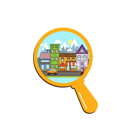 City or town street within magnifier concept illustration. Flat style icon. Cartoon exterior architecture, touristic place, facade for illustration of business town-planning, background, navigation Иллюстрация