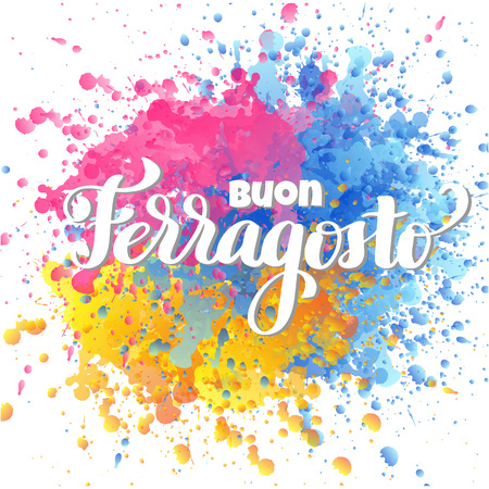 Buon ferragosto italian summer festival hand lettering. Translation Happy ferragosto . For poster, banner, logo, icon, promo, celebration issues. Colourful concept for august holiday in Italy. Stock Illustratie