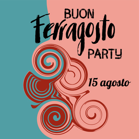 Buon ferragosto italian summer festival hand lettering. Translation Happy ferragosto . For poster, banner,icon, promo, celebration issues. Colourful concept for august holiday in Italy.