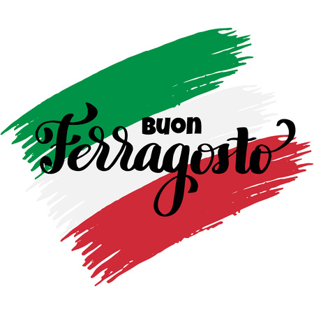 Buon ferragosto italian summer festival hand lettering. Translation Happy ferragosto . For poster, banner, logo, icon, promo, celebration issues. Colourful concept for august holiday in Italy. Ilustracja