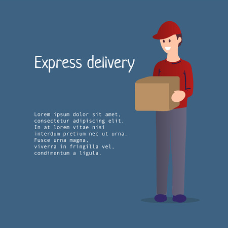 Flat illustration of courier delivering a parcel for poster, banner, logo, icon of courier delivery or express delivery or job hunting service. Smiling male character with a box in his hands