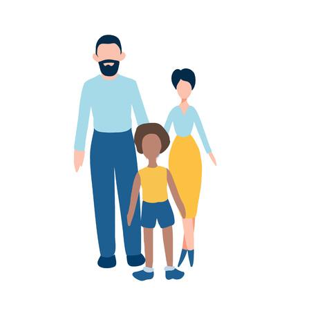 Conjunto de iconos planos familiares - hombre, mujer y niño afroamericano. Cualquier niño necesita una familia. Ilustración sobre padres adoptivos, hogar infantil y adopción o escuela y niños inusuales. Tarjeta del día de los niños