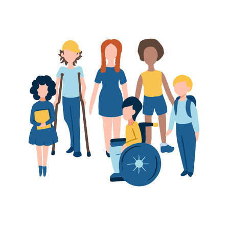 Conjunto de iconos planos para niños, incluidos niños discapacitados en silla de ruedas y muletas, niña pelirroja y niño afroamericano para un entorno sin barreras en las escuelas de la ciudad universitaria y la tolerancia a los inválidos