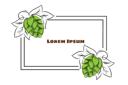 Hand drawn hop cones and wheat heads outline illustration. Hops and wheat frame for poster, banner, logo, icon, template. For beer party, thanksgiving day, craft beer producer, beer festival