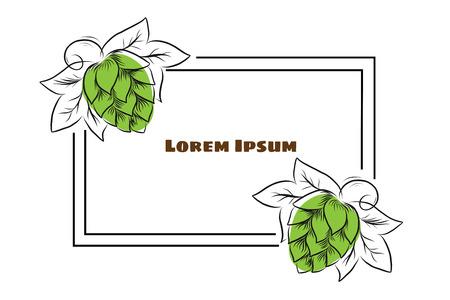 Hand gezeichnete Hopfenzapfen und Weizenköpfe umreißen Illustration. Hopfen- und Weizenrahmen für Plakat, Fahne, Logo, Symbol, Schablone. Für Bierparty, Erntedankfest, Craft Beer Produzent, Bierfest