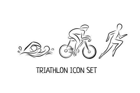 Iconos de contorno dibujado a mano de triatlón para eventos deportivos o maratón o competencia o equipo de triatlón o materiales de club, lista de verificación, invitación, cartel, pancarta, logotipo. Nadar, andar en bicicleta, correr iconos y letras Logos