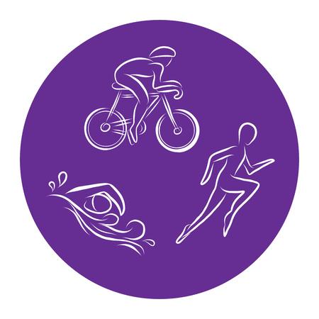 Icone di contorno disegnate a mano di triathlon impostate per eventi sportivi o maratona o competizione o materiali per squadre o club di triathlon, lista di controllo, invito, poster, banner, logo. Nuotare, andare in bicicletta, correre icone e scritte Logo