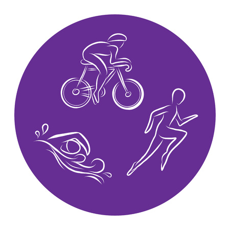 Von Hand gezeichnete Triathlon-Umrissikonen, die für Sportereignis oder Marathon oder Wettbewerb oder Triathlon-Team- oder Vereinsmaterialien, Checkliste, Einladung, Plakat, Fahne, Logo gesetzt werden. Schwimmen, Fahrrad fahren, Symbole und Schriftzüge ausführen Logo