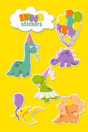 Set of funny dinosaurs stickers for party invitation, greeting card designing. Stegosaurus with balloons, diplodocus in glasses, tyrannosaurus fairy, tricaratops in crown and cute pterodactyl