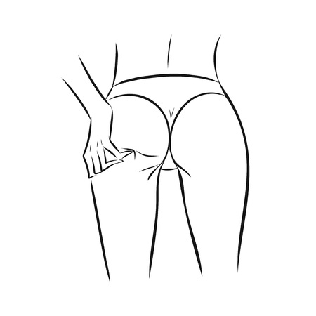 Sketch line art woman or girl slim body with hand on ass. Fashion illustration for poster, banner, logo, icon, printing of undewear shop, intimate goods for adult, sport industry.