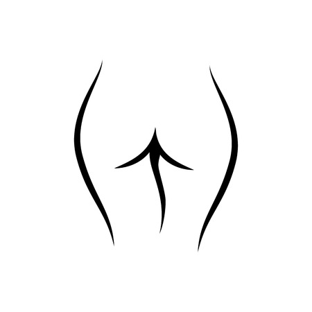 Line art female logo, woman body silhouette, sketch of cute body. Fashion illustration for poster, banner, logo, icon, printing of undewear shop, intimate goods for adult, sport industry.