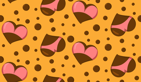 Seamless pattern with Stylized Heart icons with underwear, ass in bikini and boobs in bra. Good for Valentine s Day love greeting card, poster, banner, logo, icon for lingerie shop or sex shop.