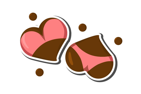 Stylized Heart icons with underwear, ass in bikini and boobs in bra. Good for Valentine s Day love greeting card, poster, banner, logo, icon for lingerie shop or sex shop. Hot intimate stickers. Ilustração