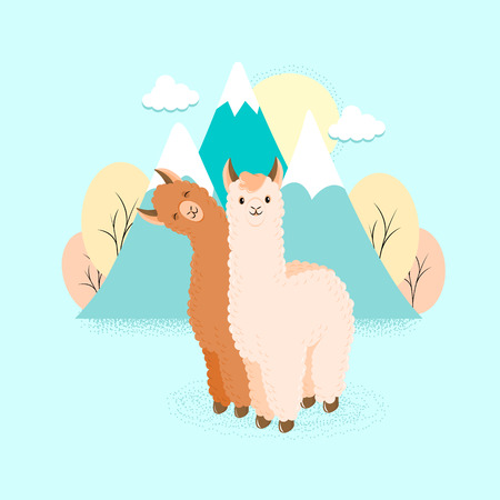 Cute llama or alpaca flat characters for nursery design, poster, banner, logo, icon, greeting card, sticker. Baby llama or little alpaca for wool producer. Cartoon wild animal in scarf and pompons Ilustracja