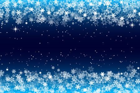 Schneeflockenrahmen mit dunkelblauem Hintergrund für Weihnachten und Neujahr oder Wintersaisonvorlage für Einladung, Grußkarte, Urlaubsplakat, Banner, Verkauf, Rabatt, Promo. Schnee, Sterne an Grenzen.