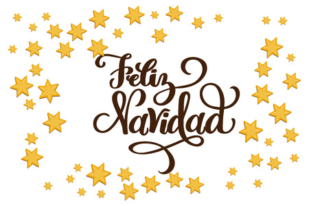 Christmas Star Frame for designing greeting card, holiday poster, banner, celebration invitation. Stars are in flat style. Hand drawn lettering Feliz Navidad means Merry Christmas in Spanish language.
