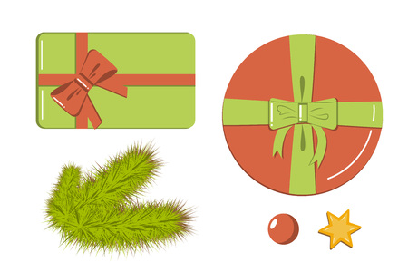 Decoration elements flat style set of icons - gift boxes, realistic fir branches, star and red bead for designing holiday poster, christmas banner, logo, icon, invitation or greeting card.