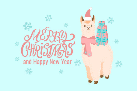 Flat style cute llama alpaca in Santa red hat and scarf with gift boxes on its back illustration for Christmas or New year greeting card, poster, holiday banner, Christmas printing or winter promo.