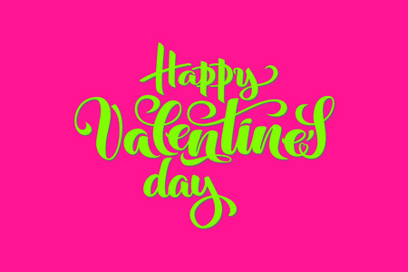 Hand drawn vector typography for Happy Valentines day, holiday of lovers in bright plastic colors - pink and green for celebration poster, dating invitation, valentine greeting card, store promo,